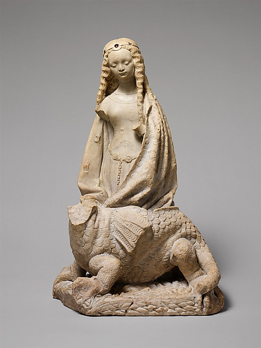Alabaster statuette of St Margaret of Antioch, c. 1475, Toulouse. On display at the Metropolitan Museum of Art.