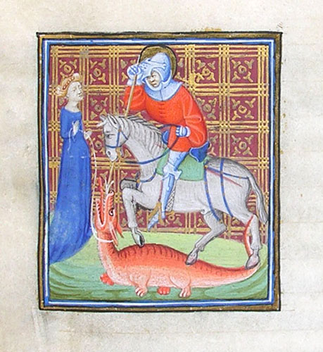 St George with a maiden holding a dragon on a leash. Image from Lady Margaret's Horae, MS N24 f.167r, St John's College, Cambridge.