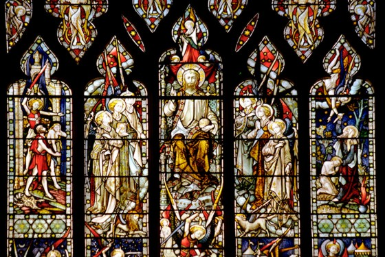 The east window in the Michaelhouse Centre features St Michael