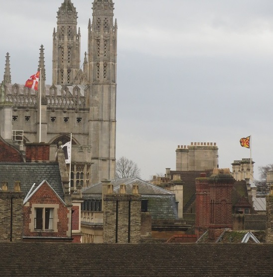 Flags flutter at Trinity Hall, Clare and King's