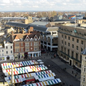 Rainbow flag over market square