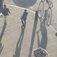 Shadows from the tower.