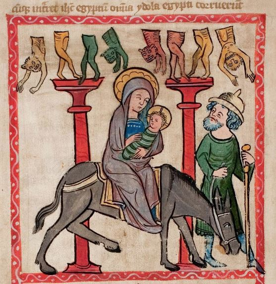 This manuscript from the 1360s shows the same link between the flight into Egypt and the toppling of pagan idols. Via wikimedia.