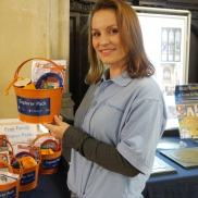 Dorota, a stalwart heritage volunteer with amazing artistic talents, showing off our family explorer buckets. Photograph by Historyworks.